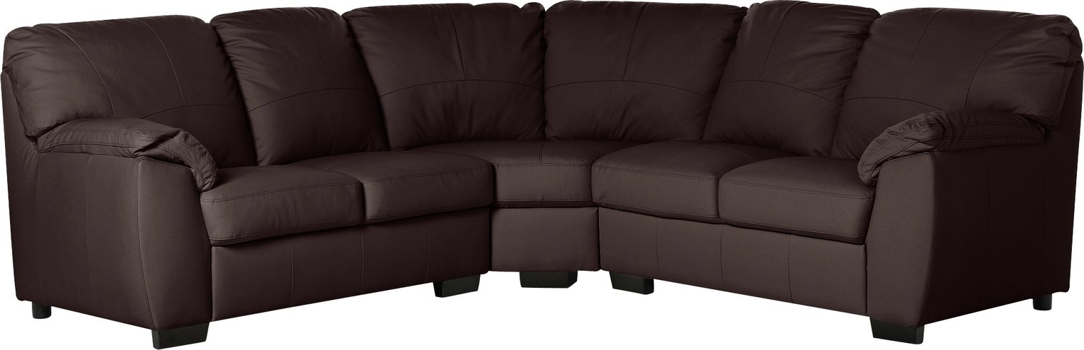 Argos Home Milano Corner Leather Sofa - Chocolate