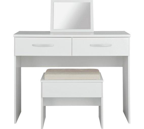 Buy Collection New Hallingford Dressing TableStoolMirrorWhite - White dressing table argos