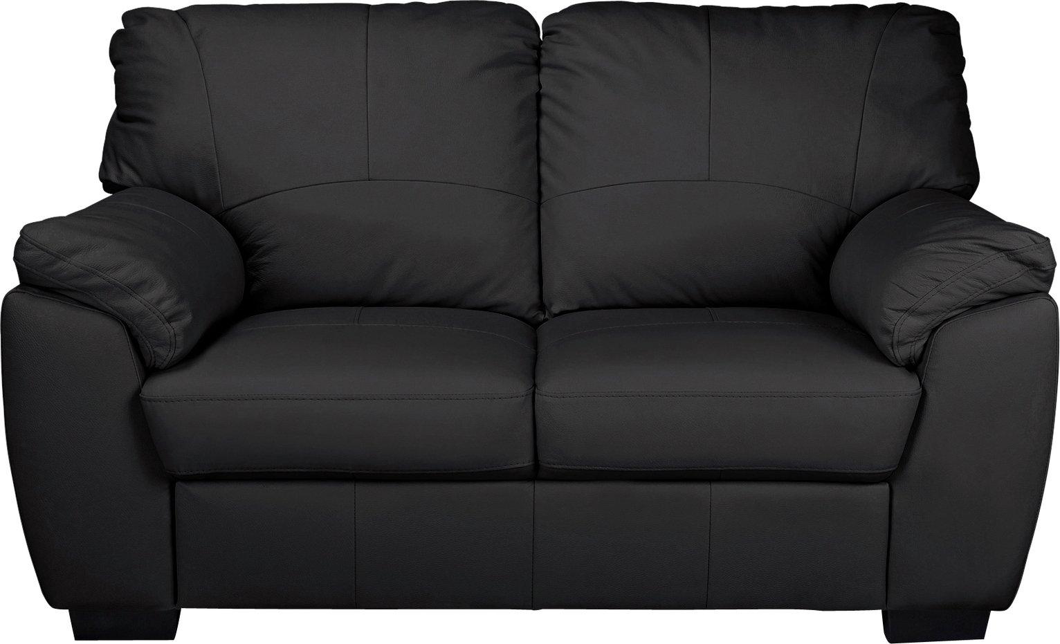 Argos Home Milano 2 Seater Leather Sofa - Black
