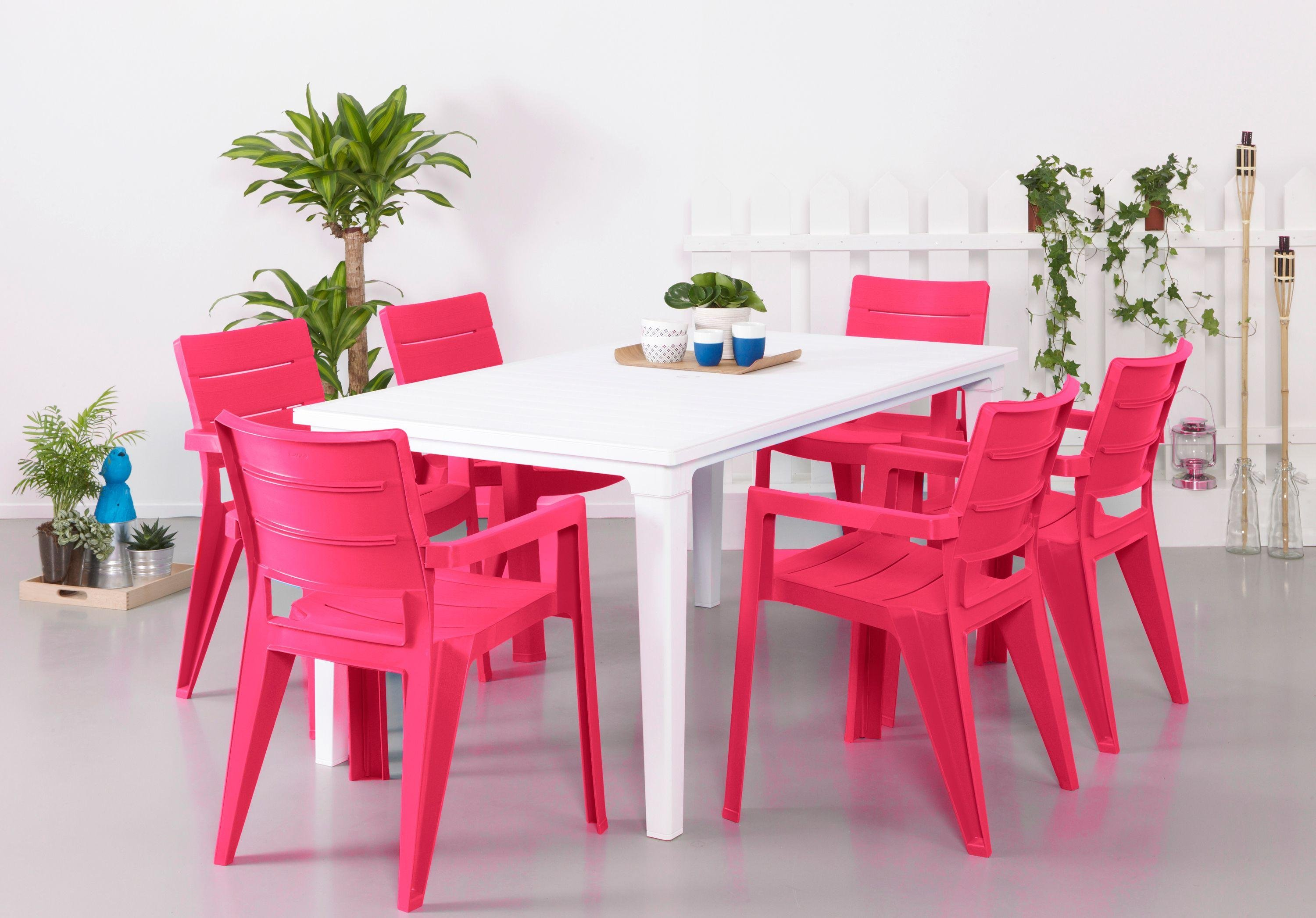 Futura Pink and White - 6 Seater Patio Set lowest price