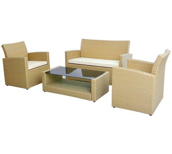 Rattan Effect Natural 4 Seater Garden Sofa Set356/6651