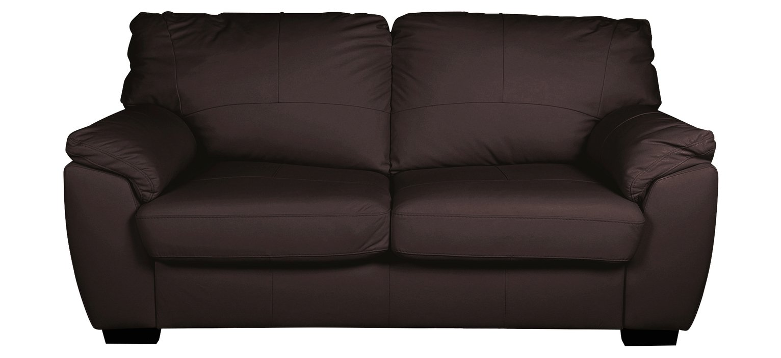 Argos Home Milano 2 Seater Leather Sofa Bed - Chocolate