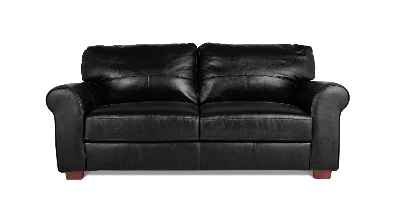 Habitat Salisbury 3 Seater Leather Sofa - Black
