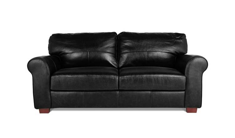 Habitat Salisbury 3 Seater Leather Sofa - Black