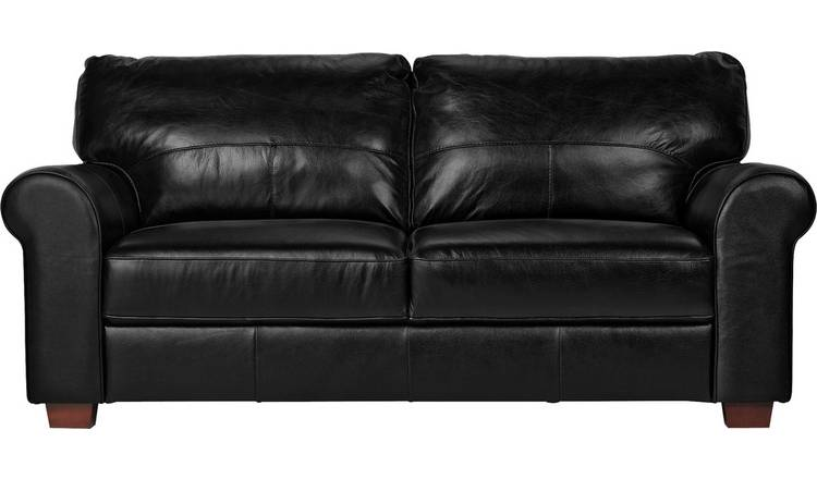Argos Home Salisbury 3 Seater Leather Sofa - Black