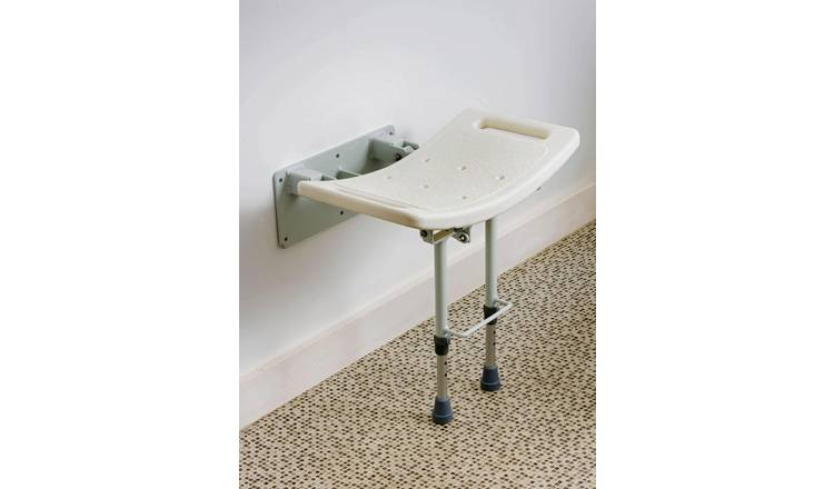 Shower Seat with Legs - Wall Mounted