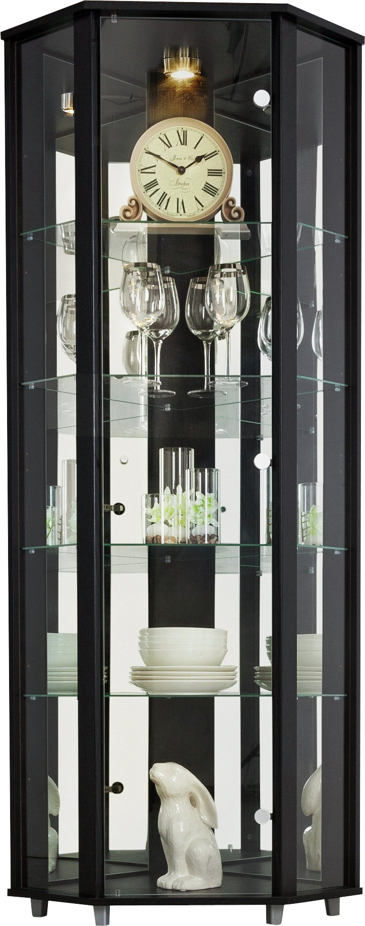 Argos Home 1 Glass Door Corner Display Cabinet - Black