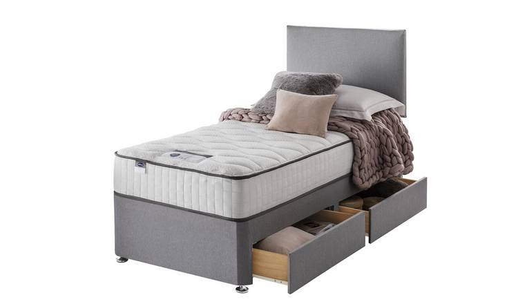 Silentnight Middleton 800 Pkt Memory Single 2Drw Divan -Grey