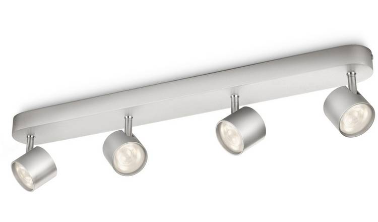 Philips myLiving LED Bar 4 Ceiling Spot Lights - Aluminium.