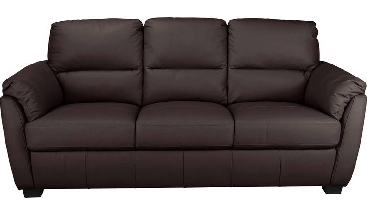 Buy Argos Home Trieste 3 Seater Leather Sofa - Dark Brown | Sofas | Argos