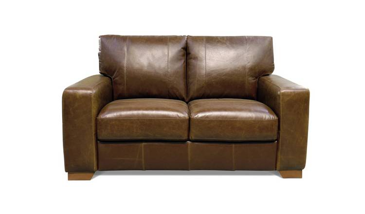 Habitat Eton 2 Seater Leather Sofa - Tan