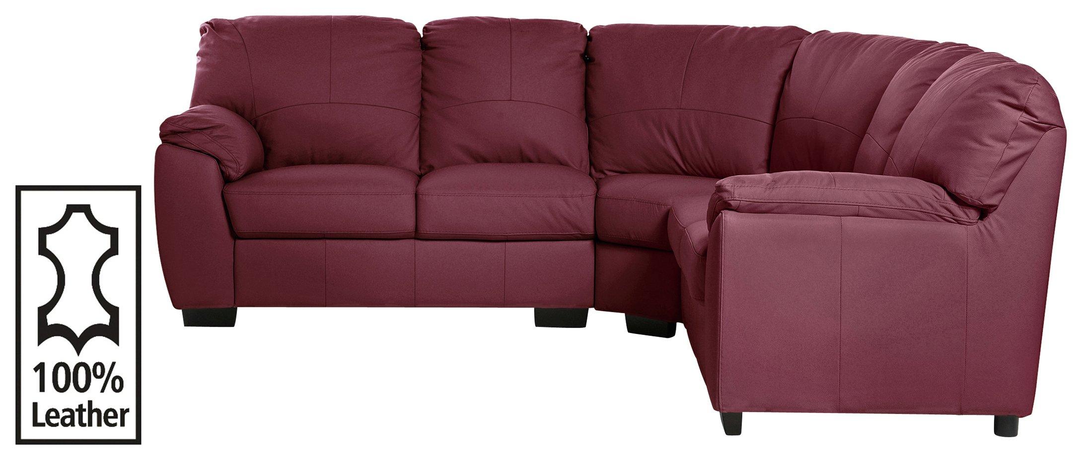 Argos Home Milano Corner Leather Sofa - Burgundy