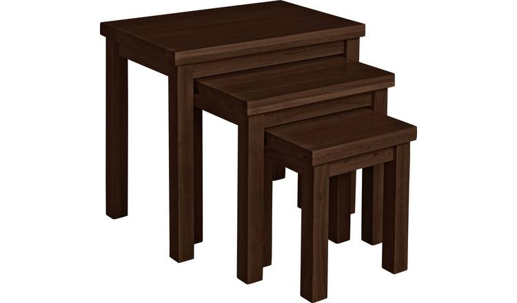Argos Home Gloucester Nest of 3 Wooden Tables -Walnut Effect