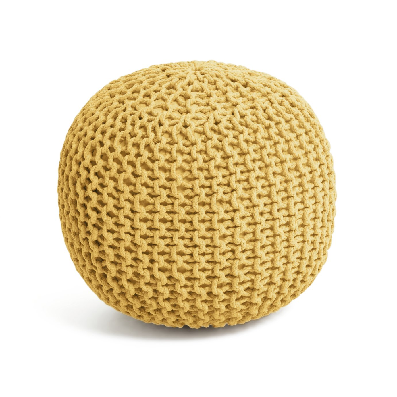 Collection Cotton Knitted Pod Footstool - Yellow