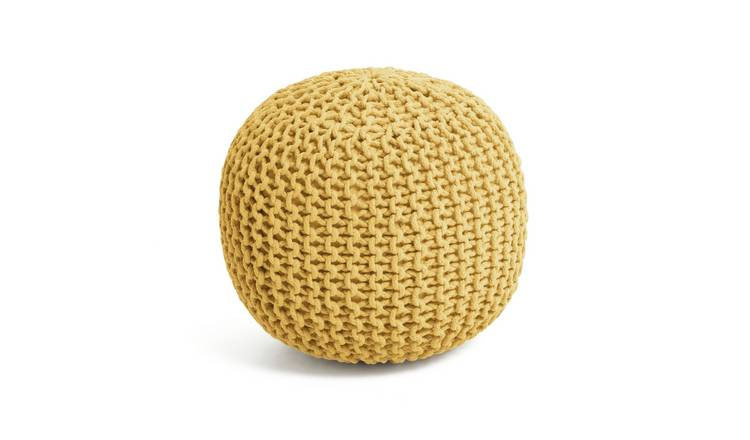 Argos Home Dottie Cotton Knitted Pod Footstool - Yellow