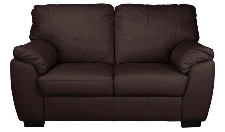 Argos Home Milano 2 Seater Leather Sofa - Chocolate