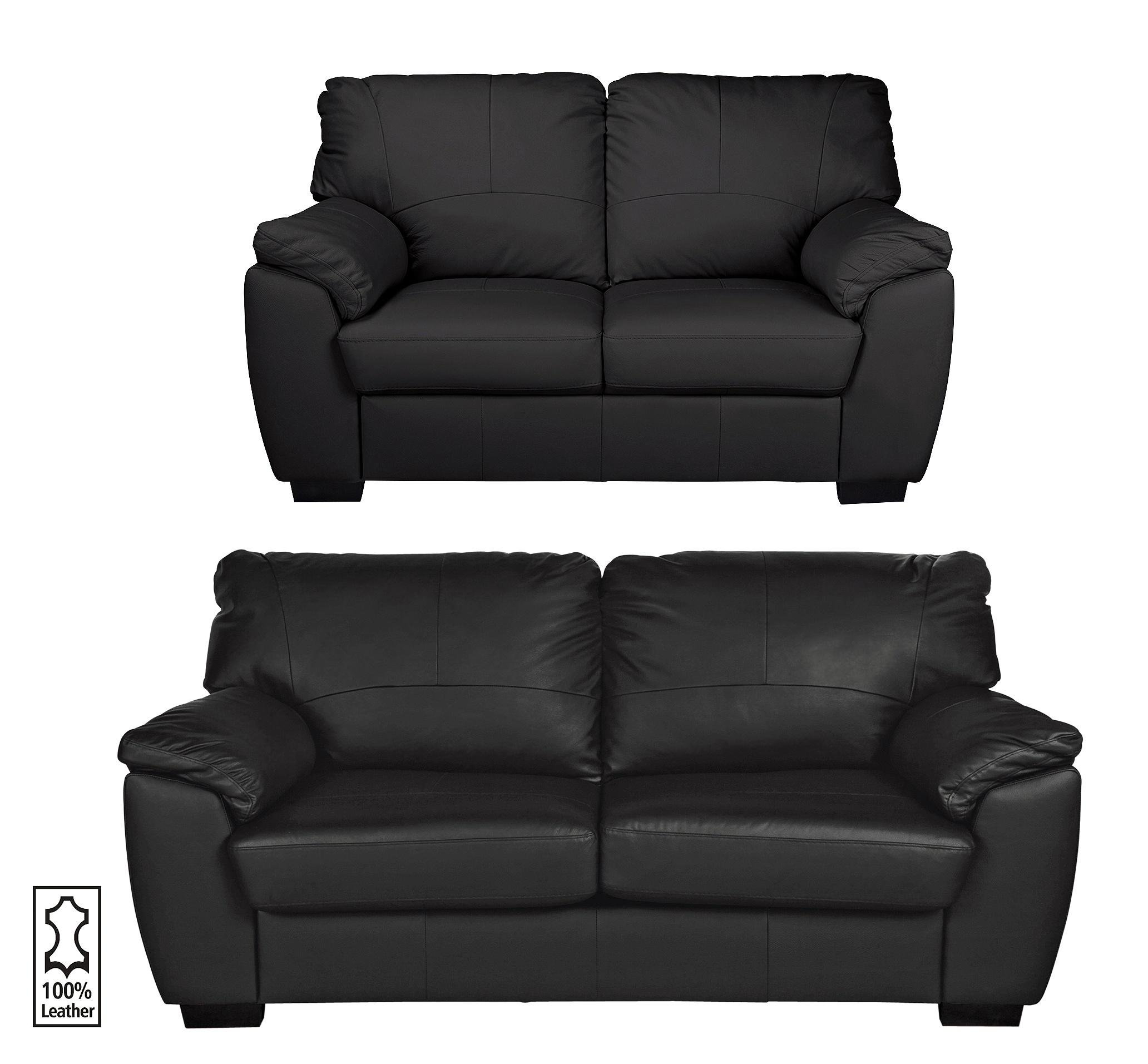 Collection Milano Leather 3 Seater u0026 2 Seater Sofa - Black  sc 1 st  Argos & Buy Collection Milano Leather 3 Seater u0026 2 Seater Sofa - Black at ... islam-shia.org