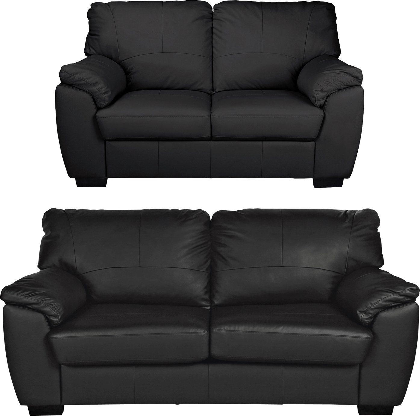 Collection - Milano Leather Large and Regular - Sofa - Black