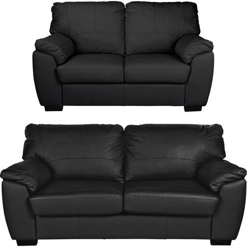 Buy Argos Home Milano Leather 2 Seater and 3 Seater Sofa - Black ...