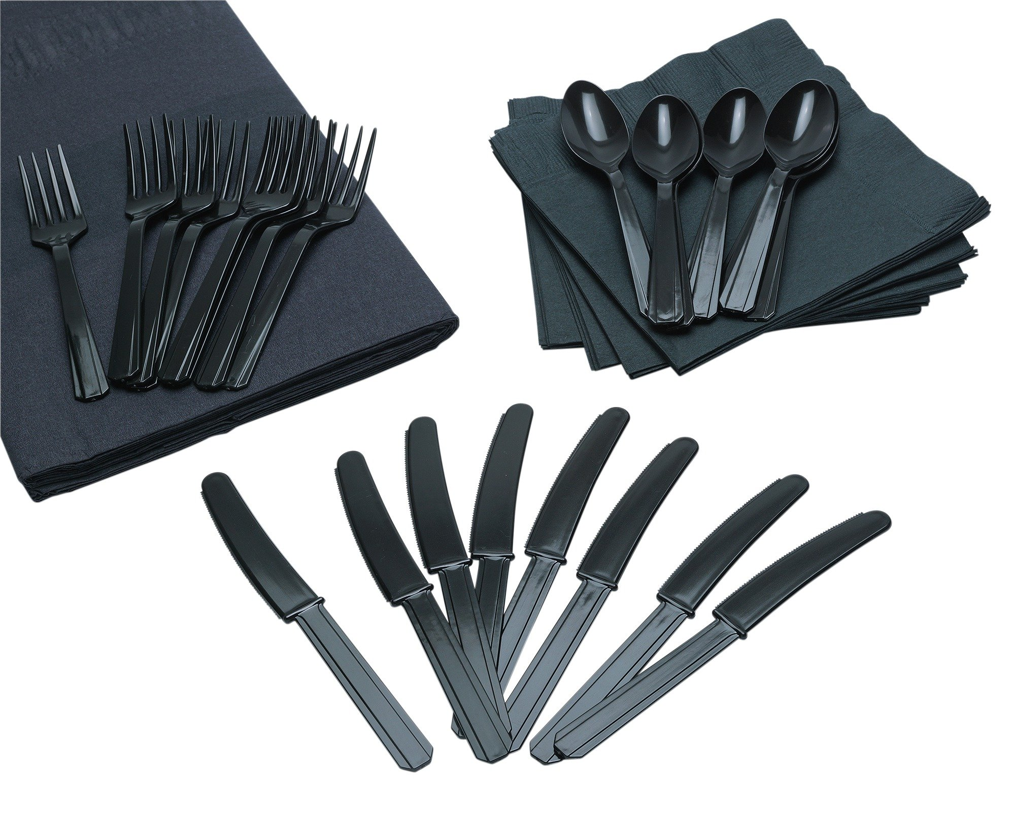 Image of Cutlery, Napkins and Tablecloth Set - Black