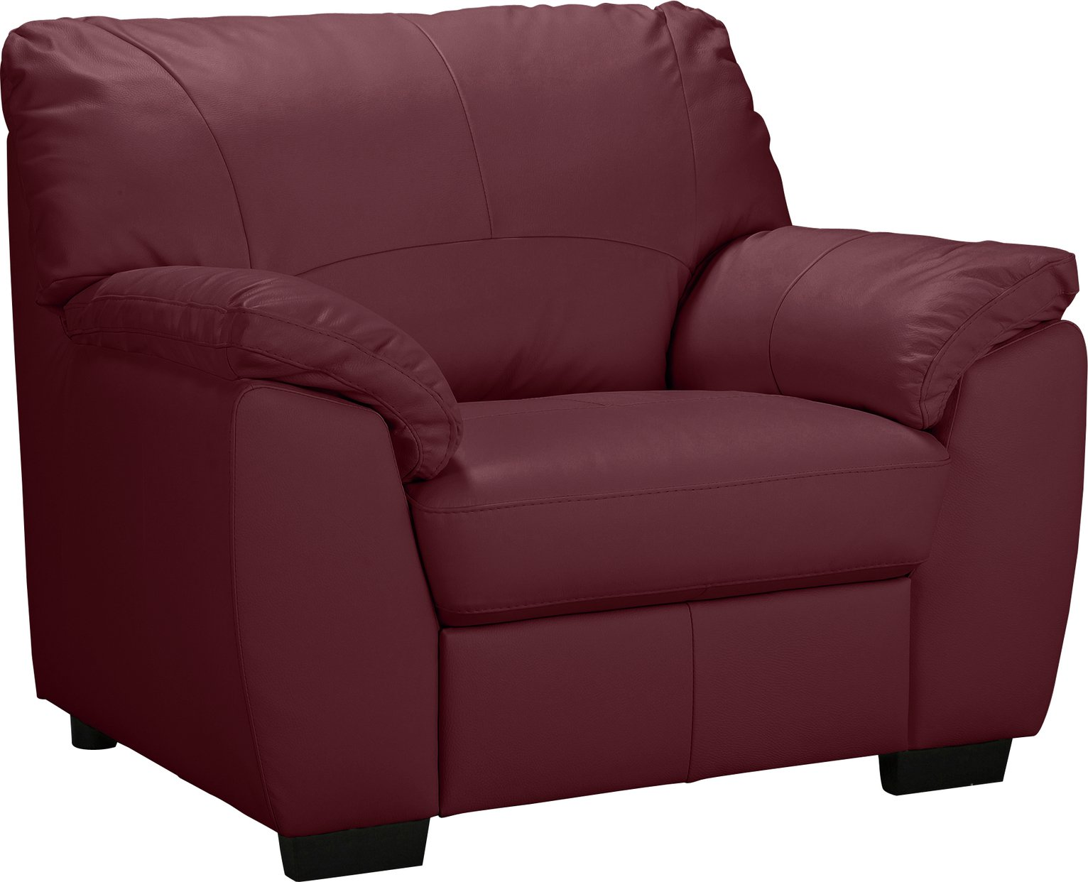 Argos Home Milano Leather Chair and 2 Seater Sofa Burgundy