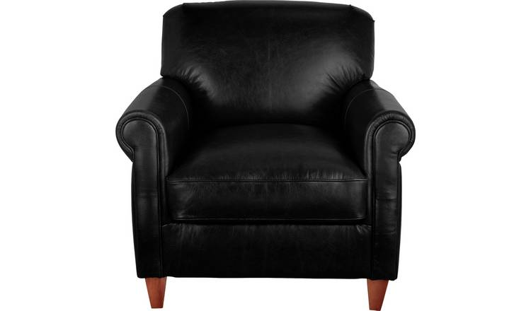 Argos Home Kingsley Leather Accent Chair - Black