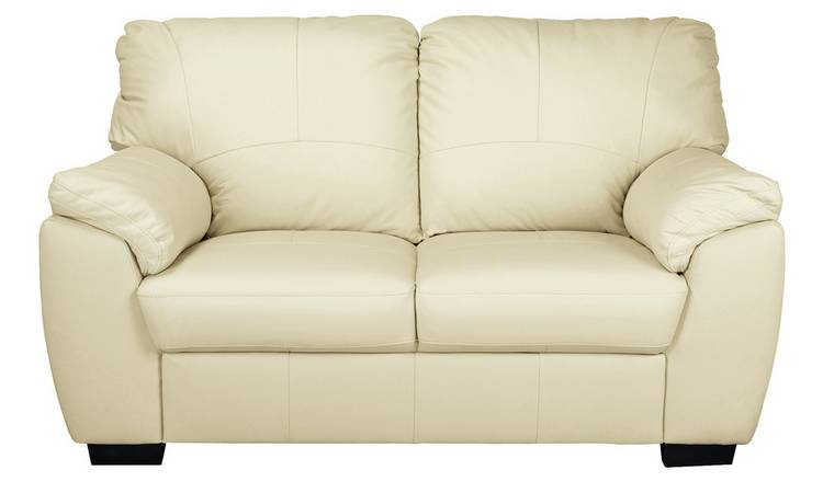 Buy Argos Home Milano 2 Seater Leather Sofa - Ivory | Sofas | Argos