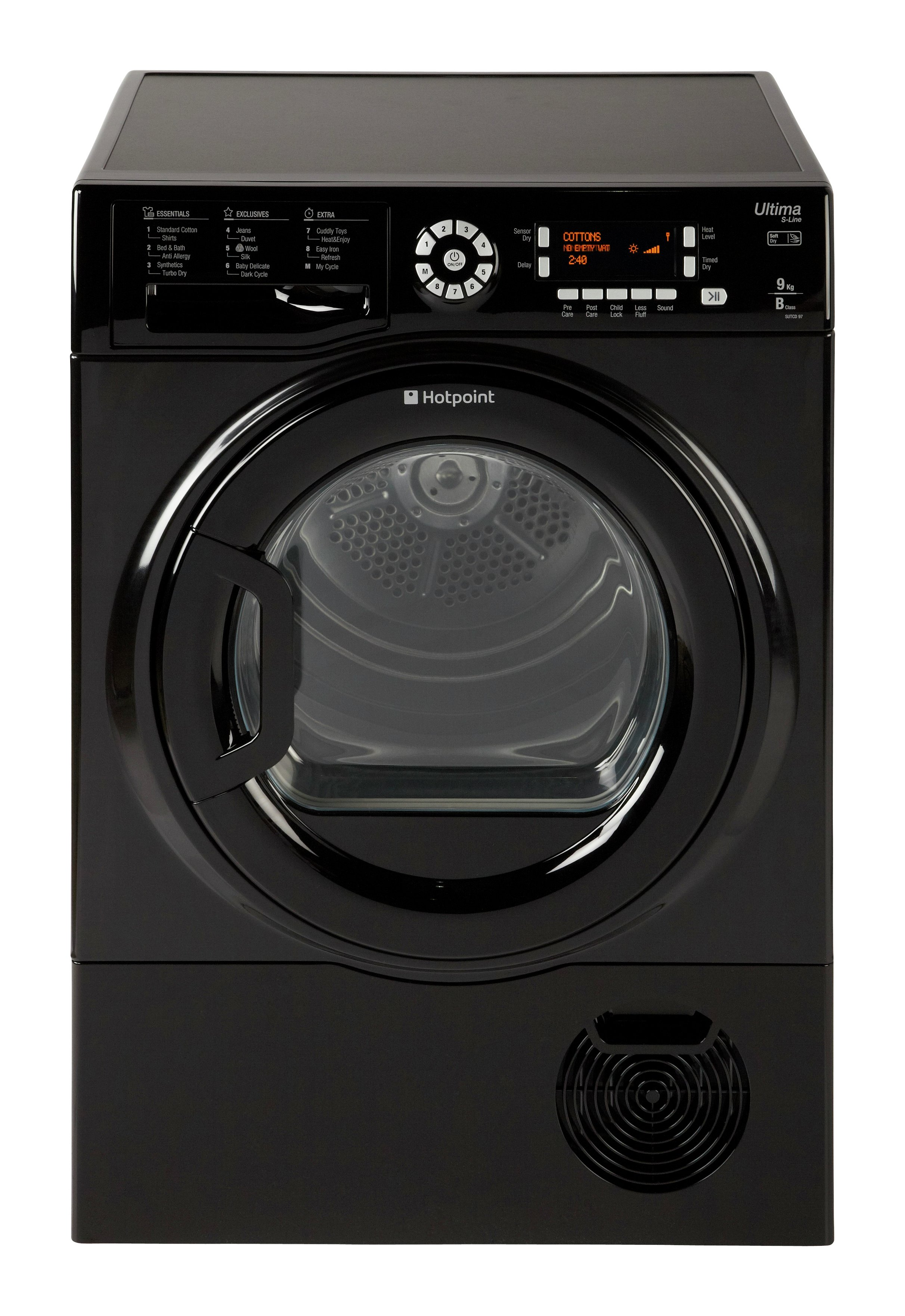 Hotpoint Ultima S-Line SUTCD 97B 6KM Tumble Dryer - Black