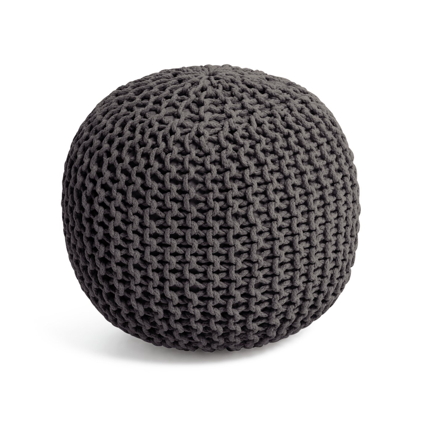 Collection Cotton Knitted Pod Footstool - Charcoal