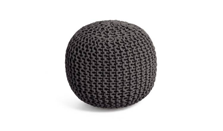 Habitat Cotton Knitted Pod Footstool - Charcoal