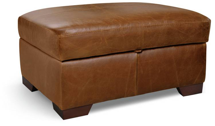 Habitat Eton Leather Storage Footstool - Tan