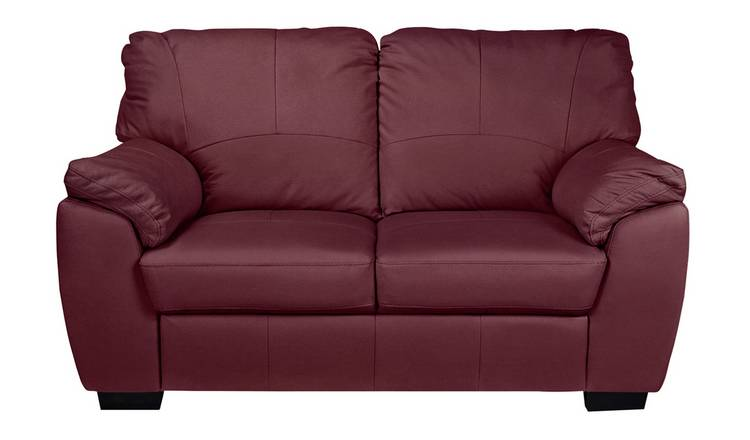 Argos Home Milano 2 Seater Leather Sofa - Burgundy