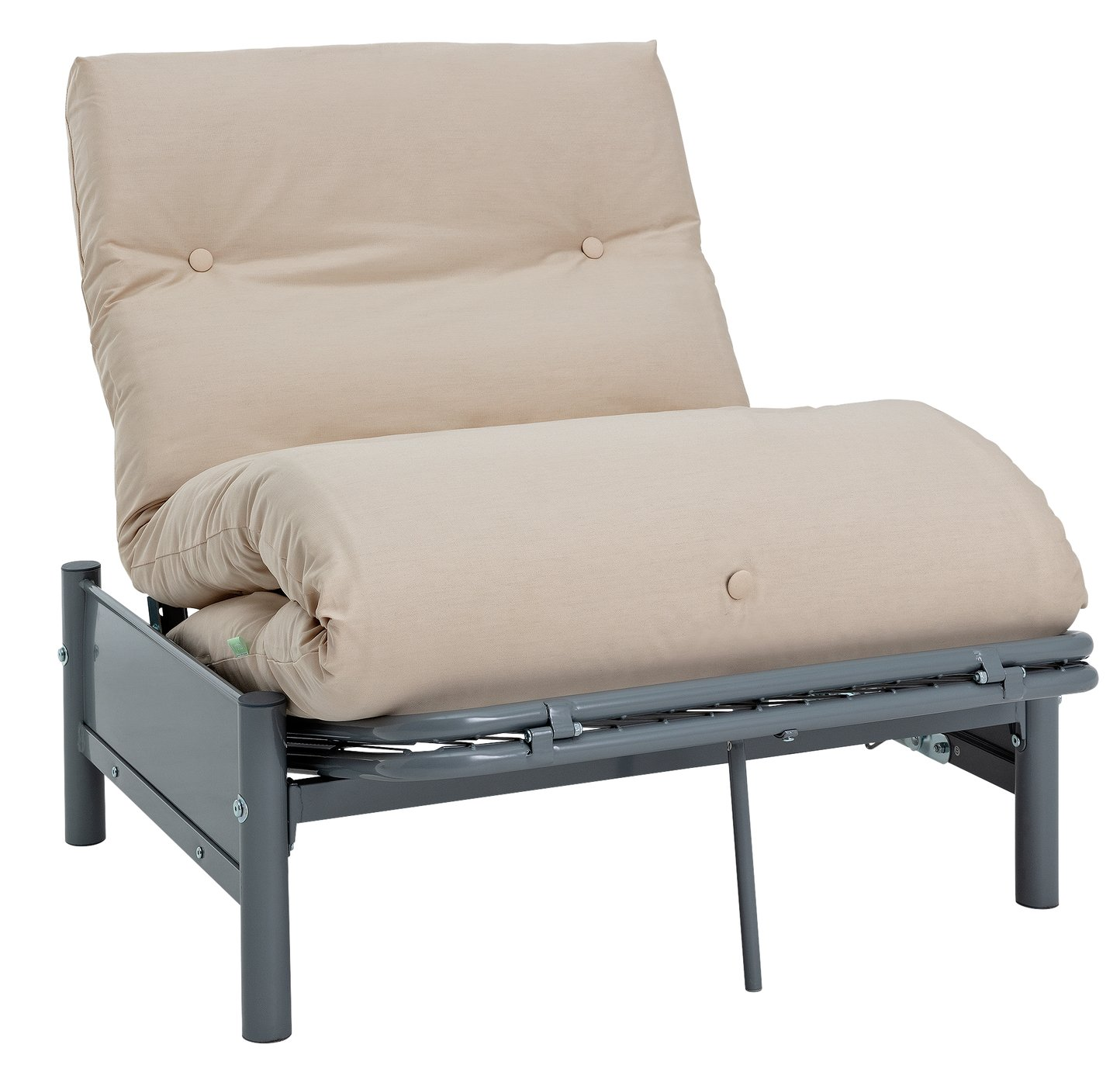 Argos Home Single Futon Metal Sofa Bed w/ Mattress - Natural