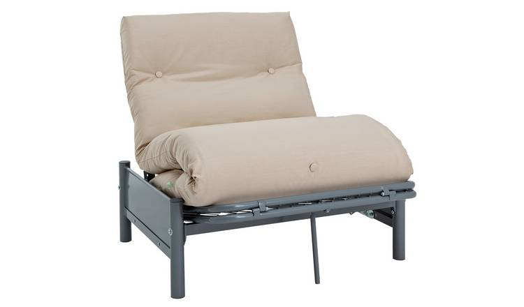 Argos Home Single Futon Metal Sofa Bed w/ Mattress - Natural