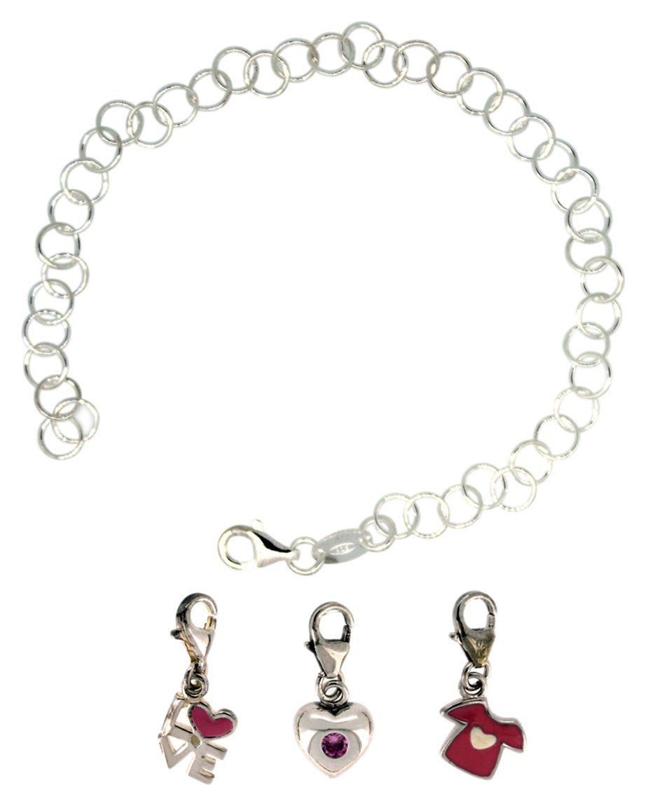 Link Up S.Silver Bracelet with Love, T-Shirt, Heart Charms