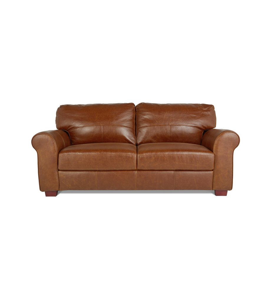 Argos home salisbury 3 seater leather sofa tan
