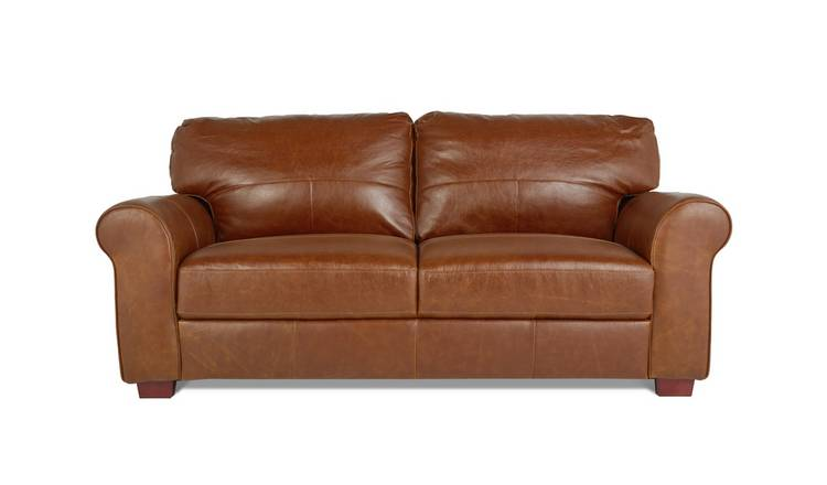 Habitat Salisbury 3 Seater Leather Sofa - Tan