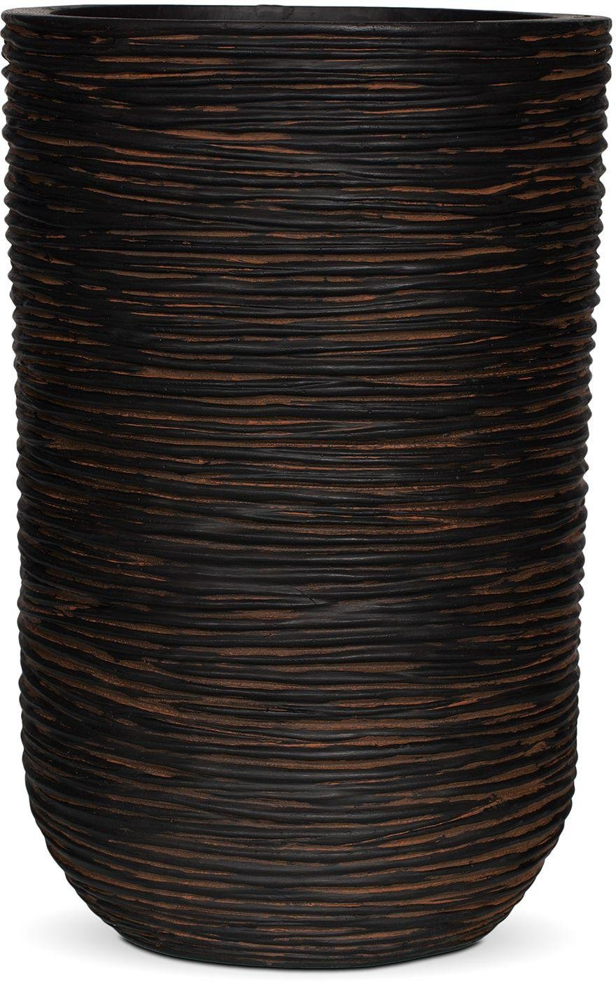 Image of Capi Nature Brown Ribbed Cylinder Planter - 25 x 38cm.