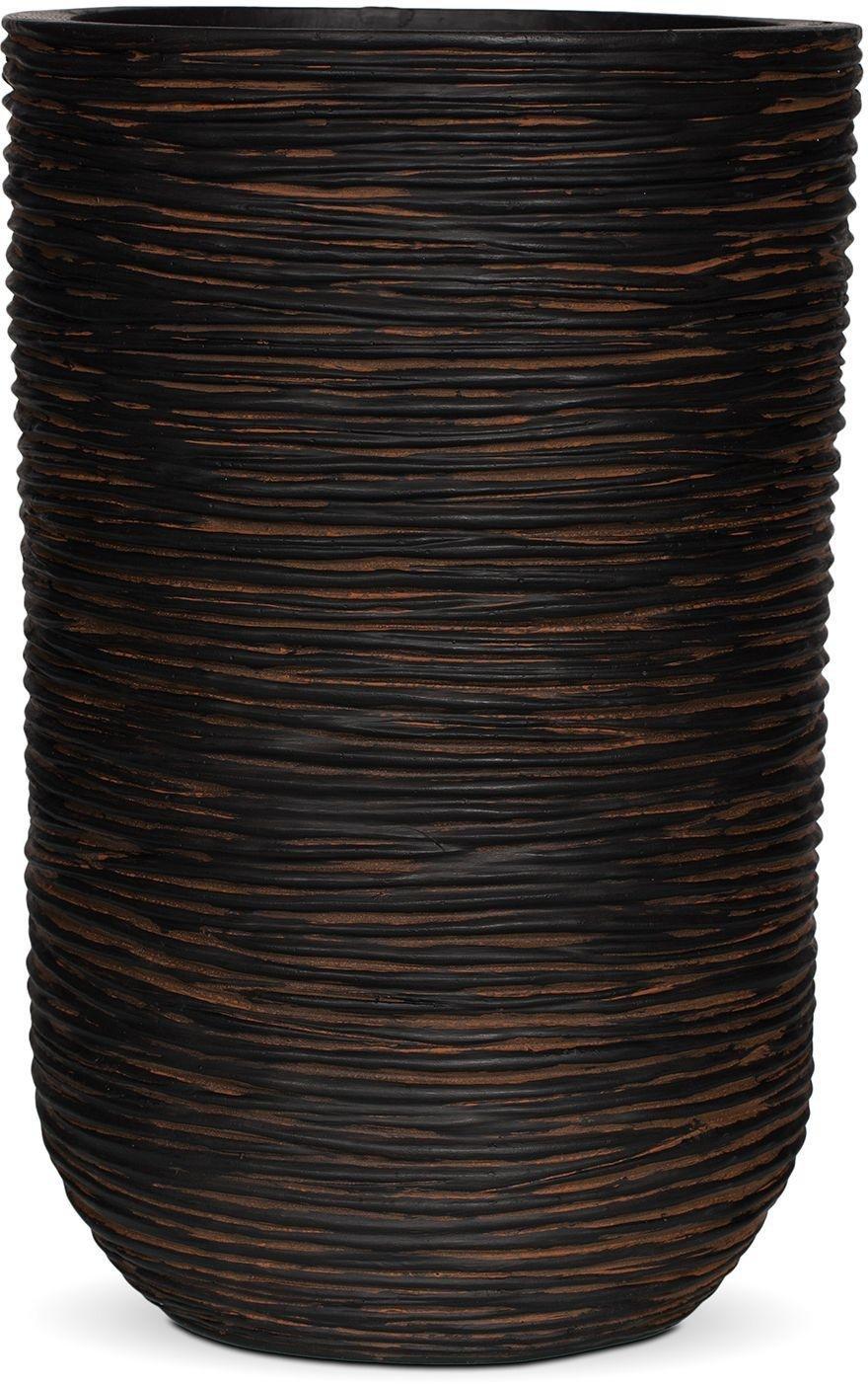 Capi Nature Brown Ribbed Cylinder Planter - 25 x 38cm.