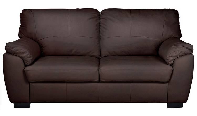 Argos Home Milano 3 Seater Leather Sofa - Chocolate