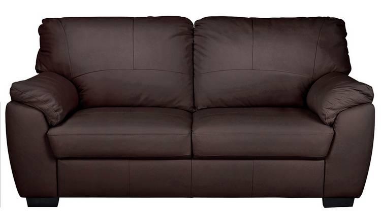 Buy Argos Home Milano 3 Seater Leather Sofa - Chocolate | Sofas | Argos