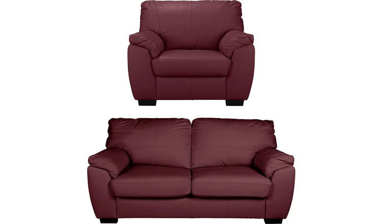 Argos Home Milano Leather Chair and 3 Seater Sofa - Burgundy
