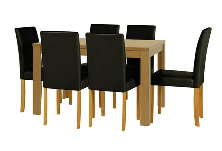 Penley Oak Veneer Ext Dining Table & 6 Chairs - Black.