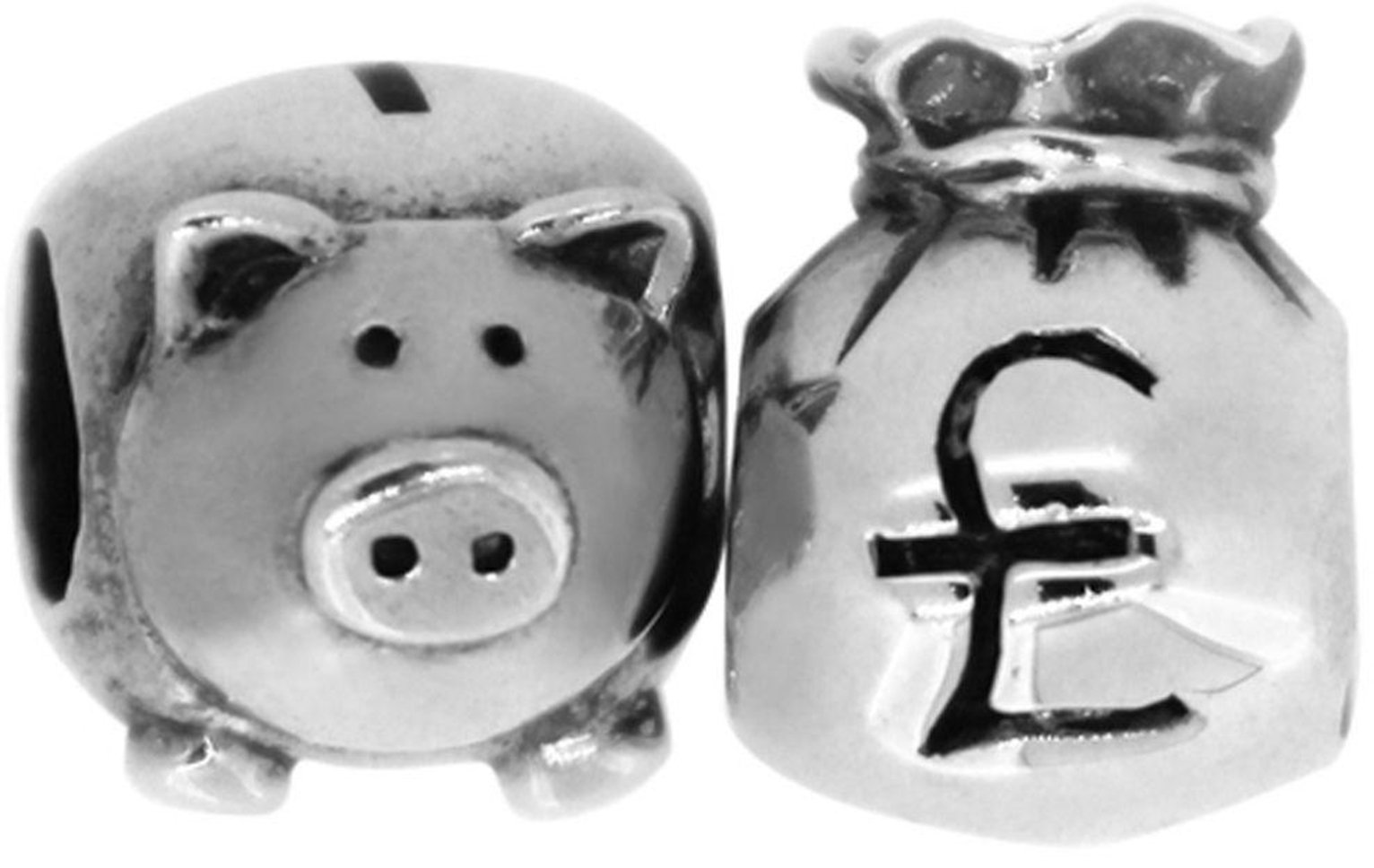 Link Up S.Silver Piggy Bank and Money Bag Charms - Set of 2.