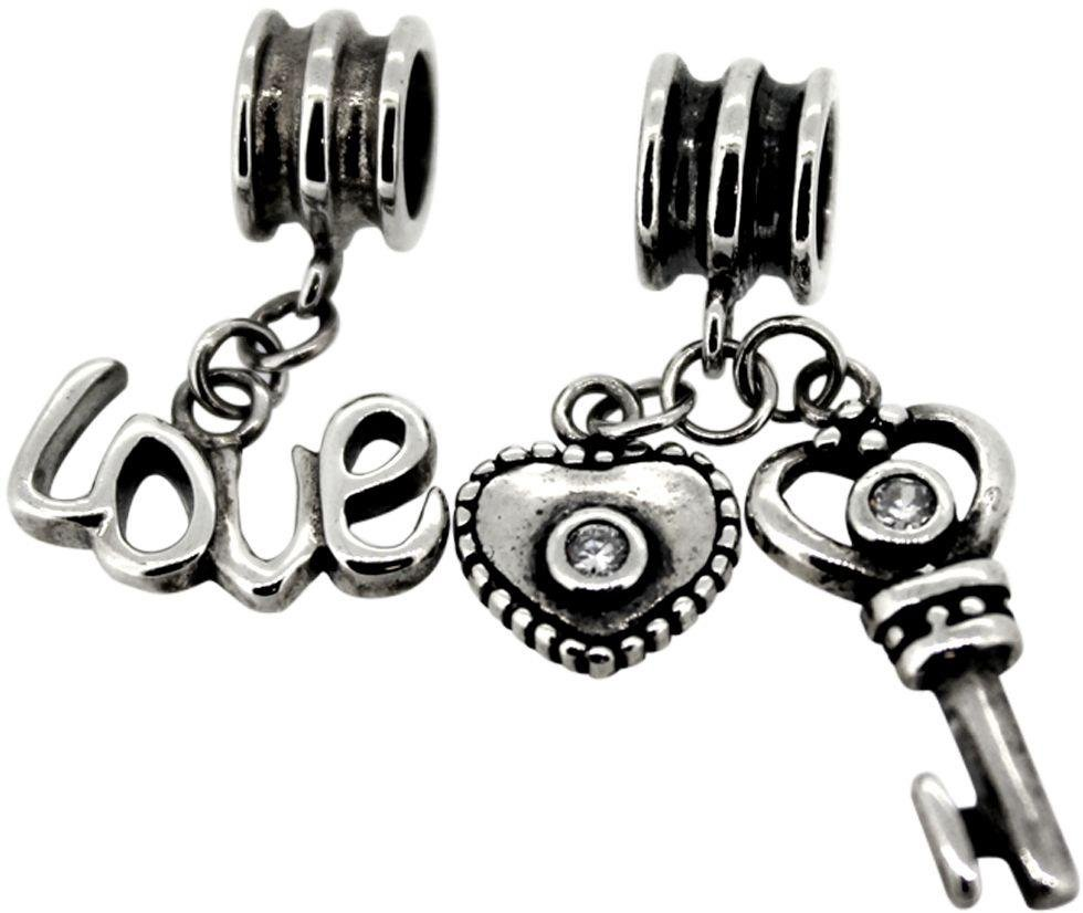 Link Up Sterling Silver Love and Key Drop Charms - Set of 2.