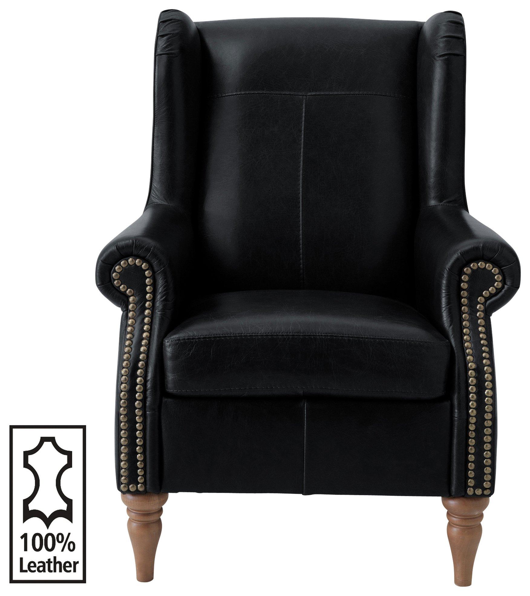Argos Home Argyll Studded Leather High Back Chair - Black