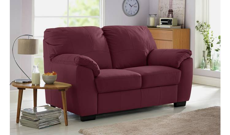 Buy Argos Home Milano Leather 2 Seater & 3 Seater Sofa Burgundy | Sofa sets | Argos