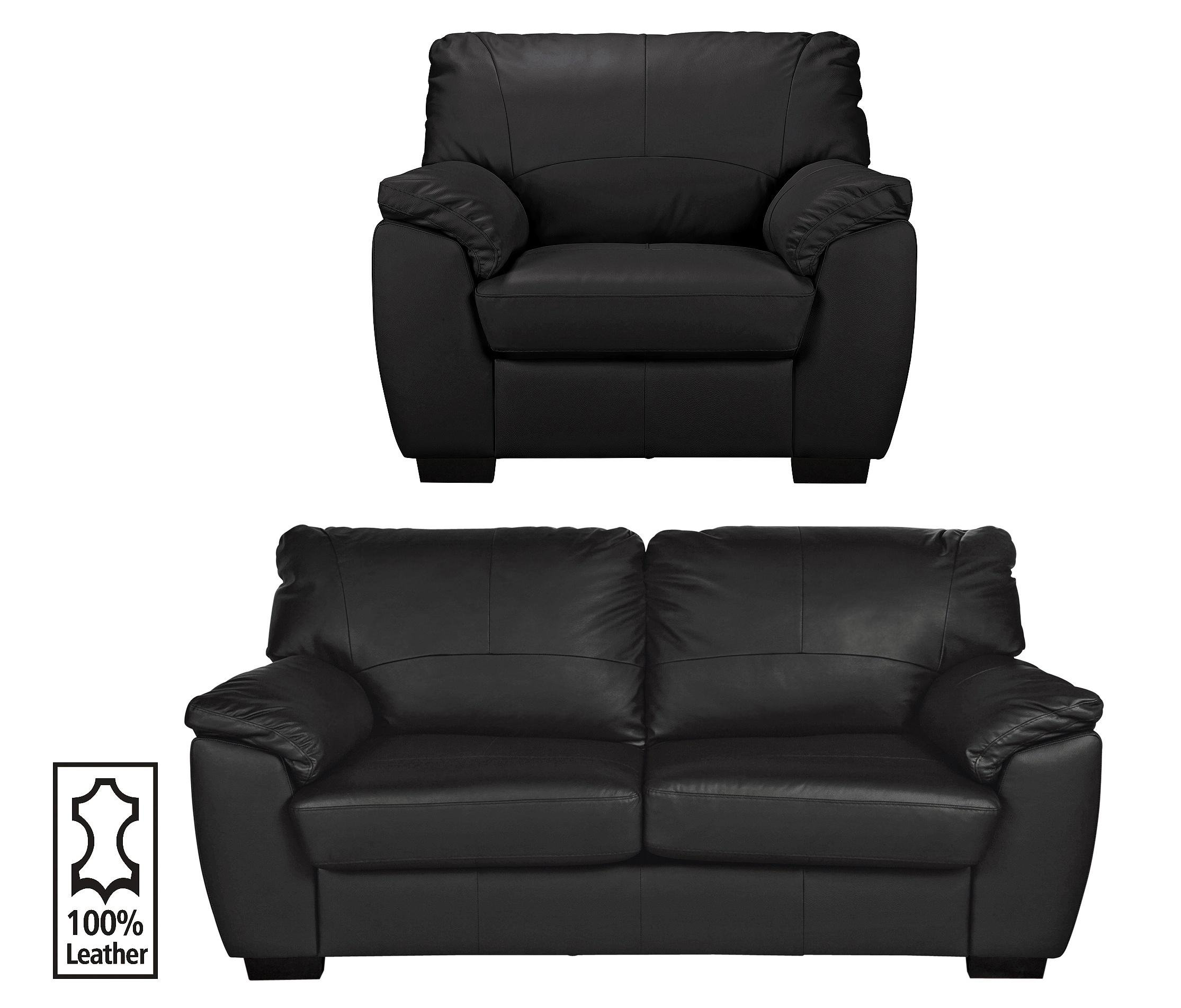 Collection Milano Leather Large Sofa And Chair Black