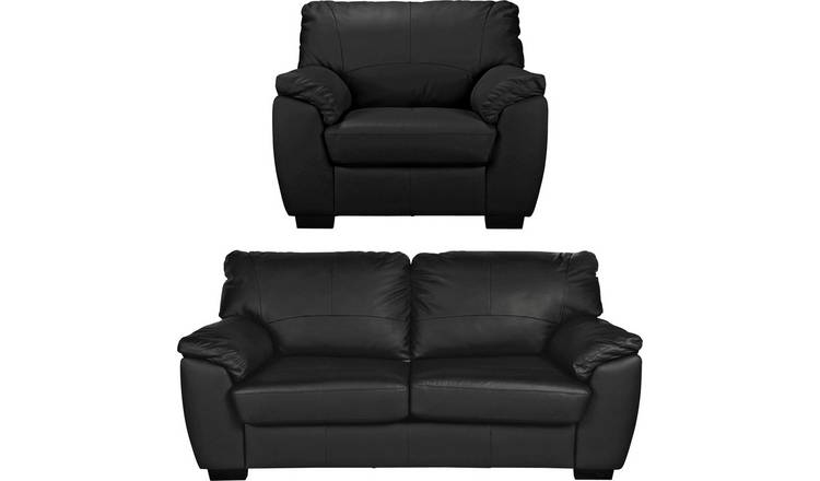Argos Home Milano Leather Chair and 3 Seater Sofa - Black