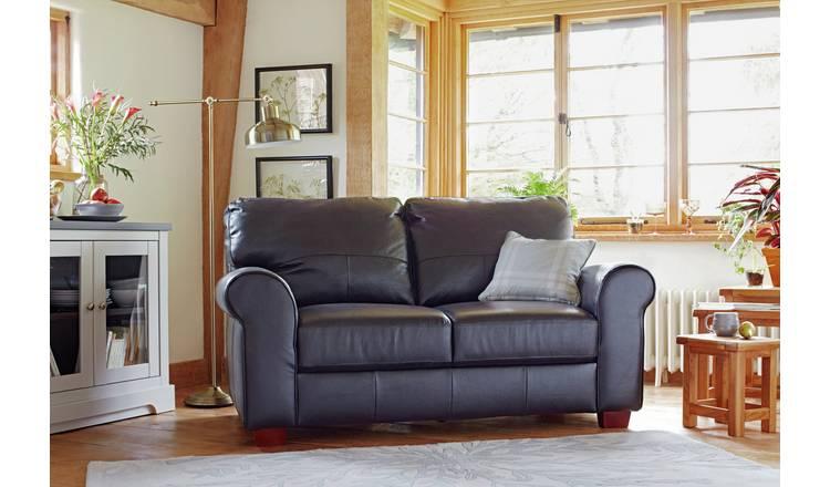 Buy Argos Home Salisbury 2 Seater Leather Sofa Black   Sofas   Argos